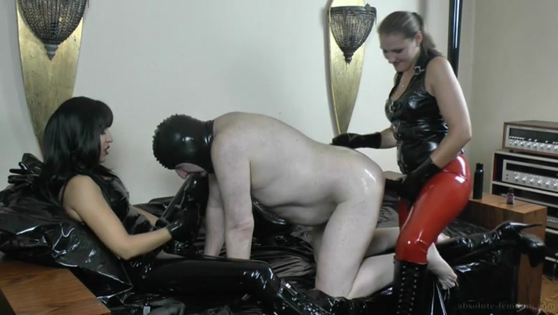 Absolute Femdom – Sharing An Asshole  [anal stretching, glove fetish, spandex]