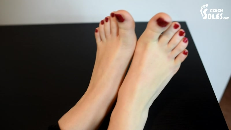 Czech Soles – My feet are so tired. Would you worship them for me  [foot teasing, red toe nails, Charlie]