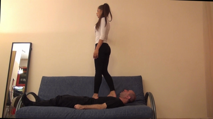 Watch or Download - Alice – 'English Exam' – Brutal Barefoot Trampling, Jumping And Facestanding Part 1 - face under foot, head standing - Release [04-05-2017]