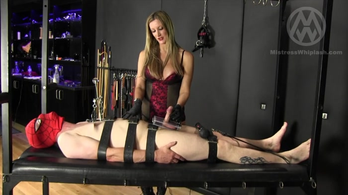 Watch or Download - Mistress Nikki Whiplash - WL1271 Clamped Crushed & Whipped - handjob, tied handjob, hand domination - Release [09-12-2017]