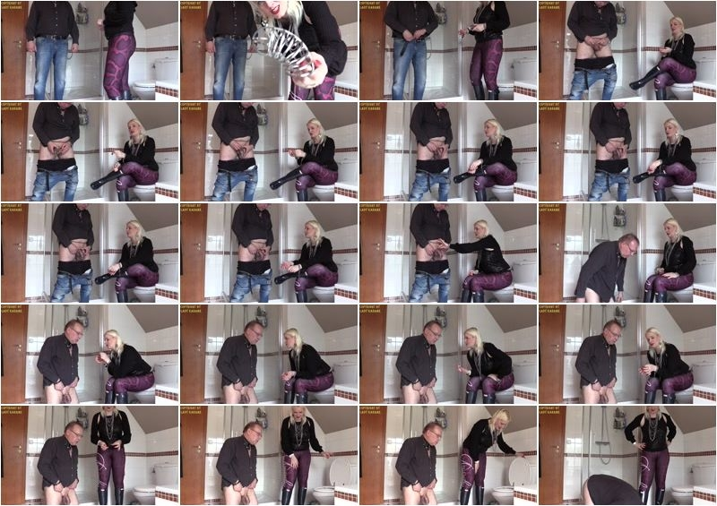 Lady Karame – Now it will be brutal, your chastity key will be gone down the toilet for ever  [Hunter Boots, mistresses, leggins]