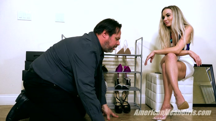 The Mean Girls - Goddess Platinum - Ballbusting The Shoe Store Loser (1080 HD) - ball crush, ballkicking, torture, pain