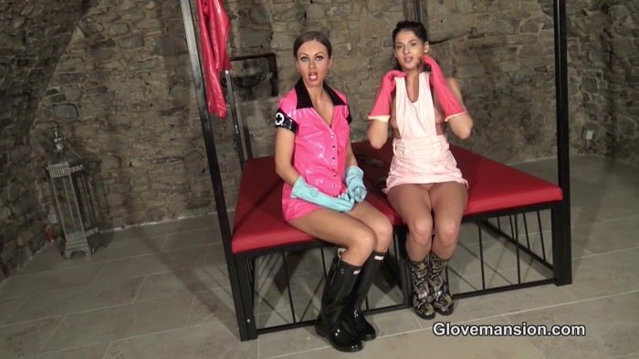 Glovemansion - Handjob in rubber boots and gloves Part 1 - Glovemansion, handjob, femdom handjob, tied