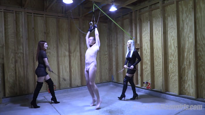 The Mean Girls - Goddess Platinum, Princess Mia - Round 2 Geezer Whipping (1080 HD) - Princess Mia, spanking, cruel, corporal
